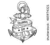 happy columbus day vector hand...   Shutterstock .eps vector #485974321