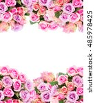 Stock photo borders of pink and violet fresh roses isolated on white background 485978425