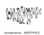 group of people walking free... | Shutterstock . vector #485979325
