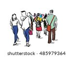 group of people walking free... | Shutterstock . vector #485979364
