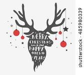 christmas deer. merry christmas ... | Shutterstock . vector #485980339