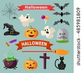 set of halloween ribbons and... | Shutterstock .eps vector #485981809