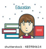 cartoon girl student education... | Shutterstock .eps vector #485984614