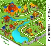 medieval isometric landscape... | Shutterstock . vector #485986849