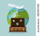 travel suitcase world airplane... | Shutterstock .eps vector #485987485