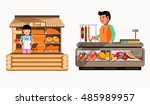 set of sellers at the counter... | Shutterstock .eps vector #485989957