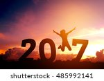 silhouette young woman jumping... | Shutterstock . vector #485992141