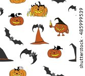 halloween vector  seamless... | Shutterstock .eps vector #485999539