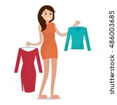 woman with cloths. girl try... | Shutterstock .eps vector #486003685
