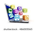 laptop and multimedia service ... | Shutterstock . vector #486005065