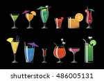 alcohol drinks and beach... | Shutterstock .eps vector #486005131