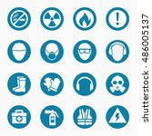 occupational health icons and... | Shutterstock .eps vector #486005137