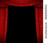glittering red curtain vector... | Shutterstock .eps vector #486006901