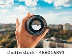 city view through the lens   Shutterstock . vector #486016891