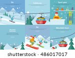 set of winter leisure vector... | Shutterstock .eps vector #486017017