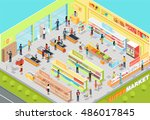 supermarket interior vector.... | Shutterstock .eps vector #486017845