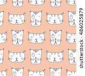 cute cats seamless pattern | Shutterstock .eps vector #486025879