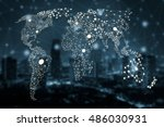 Small photo of World map poly gon with night city scape