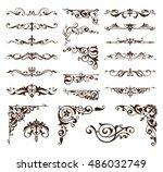 art deco design elements of... | Shutterstock .eps vector #486032749
