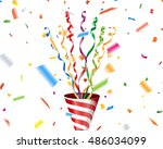 party popper with confetti and... | Shutterstock .eps vector #486034099