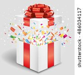 opened gift box with red bow... | Shutterstock .eps vector #486034117