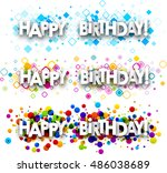 happy birthday color banners... | Shutterstock .eps vector #486038689