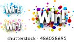 win colour banners set. vector... | Shutterstock .eps vector #486038695