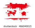 set of various blood or paint... | Shutterstock .eps vector #486040015