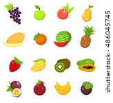 fruit harvest icons set  grape  ... | Shutterstock . vector #486045745
