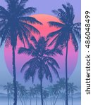 tropical sunrise with pink... | Shutterstock .eps vector #486048499