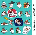 sticker collection of emoji... | Shutterstock .eps vector #486049159