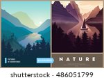 set of nature landscape... | Shutterstock .eps vector #486051799