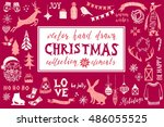 colorful hand drawn christmas...   Shutterstock .eps vector #486055525