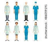 set of doctors in flat style. | Shutterstock .eps vector #486059191