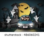 family driving in car with... | Shutterstock .eps vector #486060241
