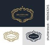 luxury vintage logo. business... | Shutterstock .eps vector #486063241