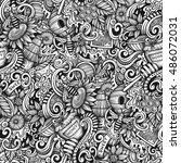 cartoon hand drawn doodles... | Shutterstock .eps vector #486072031
