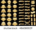 banner gold vector icon set on... | Shutterstock .eps vector #486080029