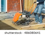 vibratory plate compactor used... | Shutterstock . vector #486080641