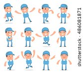 set of laughing and joyful... | Shutterstock .eps vector #486081871