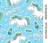 vector seamless pattern of cute ... | Shutterstock .eps vector #486084631