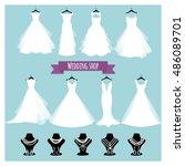 wedding shop. vector... | Shutterstock .eps vector #486089701