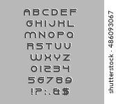 vector alphabet with numbers ... | Shutterstock .eps vector #486093067