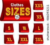clothes size labels with...   Shutterstock .eps vector #486093211