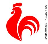 red rooster  chicken  cock.... | Shutterstock .eps vector #486094429