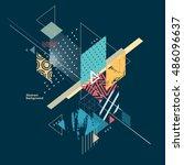 abstract modern geometric... | Shutterstock .eps vector #486096637