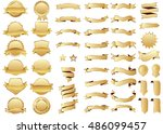 banner gold vector icon set on... | Shutterstock .eps vector #486099457