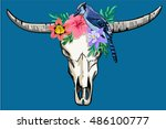 buffalo skull and bird  | Shutterstock .eps vector #486100777
