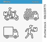 delivery icons. professional ... | Shutterstock .eps vector #486100975