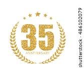 template logo 35 years... | Shutterstock .eps vector #486102079